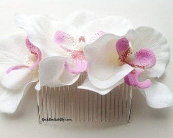 White Orchid Rockabilly Pin up bridal Hair Flower Fascinator comb