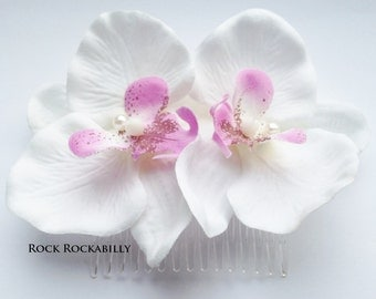 Rockabilly Pin up bridal  White Pink Double Orchid Hair Flower Fascinator comb