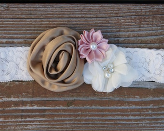 Vintage headband. Country wedding headband. Baby girl flower headband. Girl lace headband.