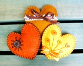 Heart ornament felt, set of 3, handmade, orange, yellow, brown, sunny, summer decor, Wedding, Christmas, Birthday gift, Valentine's day