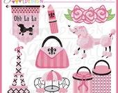 Pink Paris Clipart, eiffel tower clip art, poodle clipart, pink poodle clipart, poodle images, parisian clipart, travel clipart