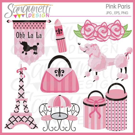 Pink Paris Clipart Eiffel Tower Clip Art Poodle Images Parisian Travel From SanqunettiDesigns On