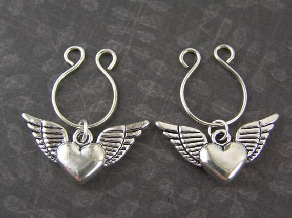Silver flying angel wing hearts non piercing nipple dangle for Angel wings nipple piercing jewelry