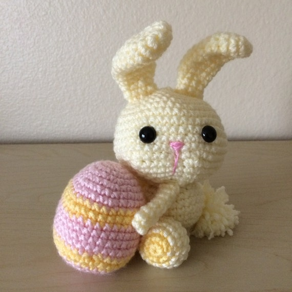 Items similar to Crocheted Amigurumi Easter Bunny with Egg ...