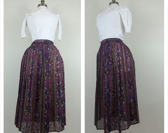CLEARANCE 70s Secretary skirt floral long skirt S/M