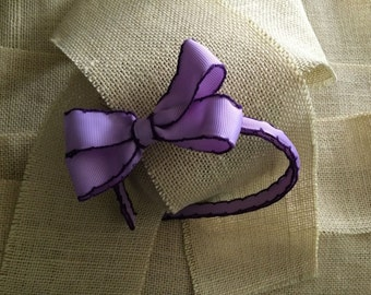 Lavender and Purple Moonstitch Grosgrain Ribbon Lined Headband with Matching Bow