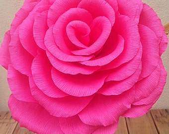 Large Shocking Pink Color Crepe Paper Flower Rose, Wedding Flower, Wedding Bouquet, Giant Paper Flowers