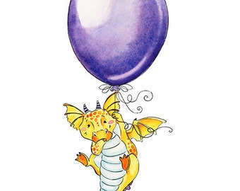 Dragon Nursery, Dragon Art Print, Dragon With Balloon, Balloon Themed, Balloon Watercolor, Watercolor Nursery, Nursery Decor, Flying Dragon