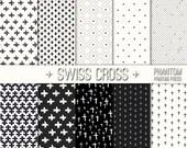 Swiss Cross Digital Scrapbook Paper Set of 10 - Instant Download - Black and White