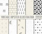 Vintage Hipster Illustration Digital Scrapbook Paper Set of 10 - Instant Download