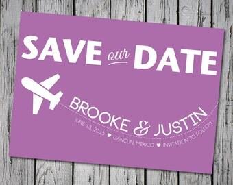 Destination Wedding Save-the-Date, Lavender, Purple, Customizable Colors, Printable Digital File, DIY