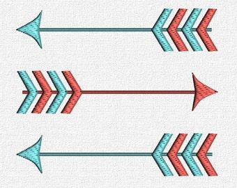 Arrow Machine Embroidery Pattern Design Download 4x4 5x7 6x10 Modern Retro Arrows