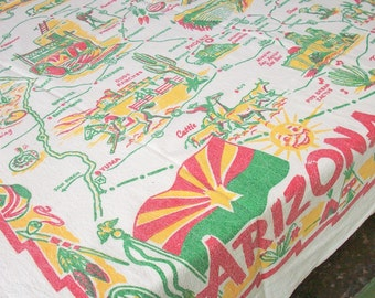 Souvenir Tablecloth from the 1940's / Arizona / Yucca Print  / 3 color