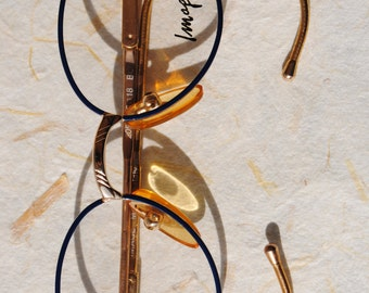 cute vintage IMAGE 38-18 metal blue frame mat gold arms loop temples kids' toddlers' round eye/sunglasses frame made in Italy  New