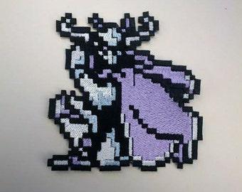 8 Bit Final Fantasy Garland Shiny Metallic Embroidery Iron On patch.