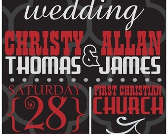 Black Modern Wedding Invitations - choose text color