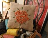 Orange Flowers Embroidered Pillow, FAAP, OFG, HAFair