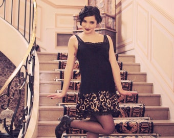 dress charleston flapper 20s creator zawann of fashion flapper black gold glitter
