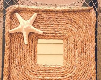 Nautical rope mirror with starfish
