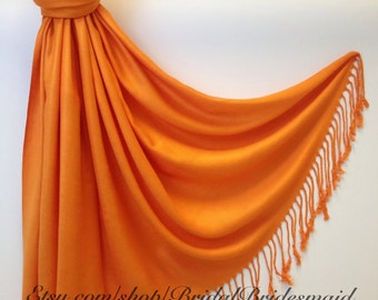 Wedding Season SALE - ORANGE PASHMINA - orange shawl - bridal scarf - bridal shawl - bridesmaid gift - wedding gift - scarf - shawl - gift -