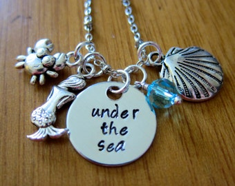 Little Mermaid Inspired Necklace. Under The Sea. Silver colored,  Swarovski Elements crystal, for women or girls
