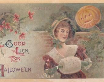 Good Luck for Halloween Postcard