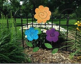 Metal Garden Art Flower Garden Stakes Yard art Flowers - SET OF THREE