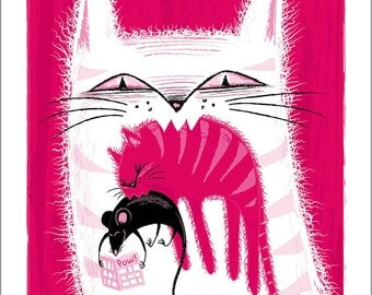 Catcatmouse. Giclée signed and numbered copies. Art Print. Limited edition.