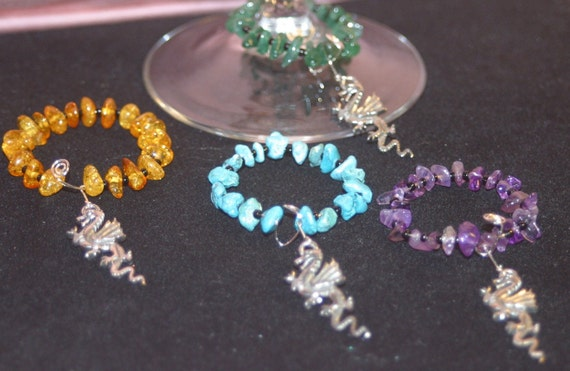 Fantasy Wine Charms with Genuine Gemstones