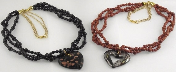 Goldstone Multi-Strand Necklace with Glass Heart Pendant