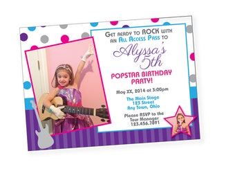 Pop Star Birthday Invitation - {Digital File} Rock Star, Pop Star Birthday Girls Pink Purple Teal