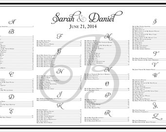 Elegant Wedding Seating Chart - Landscape 36 x 24 {Digital File} Black Border Table Chart  |  Printable Seating Plan Poster, Seating Board