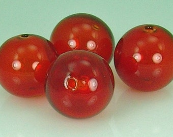 Hand Blown Hollow Glass bubbles 28mm Gorgeous Transparent RED. Lot of 4