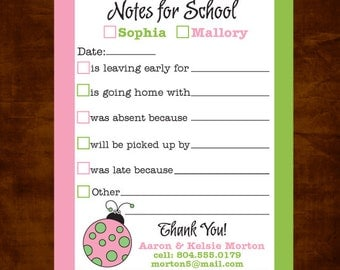 School Notepad, Excuse Pad for School, Notes for School, Parent Notes for School, Back to School, School Notes, Personalized Excuse Pad