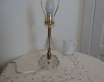 Vintage Glass Hollywood Regency Lamp Home Decor Shabby Chic