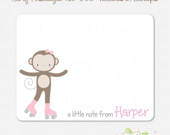 Monkey Notecards - Children's Note Cards - 10 Personalized Note Cards - Thank Yous - Girl Monkey Design - kids notecards
