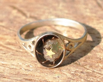 sterling silver ring, resin horsehair ring, resin ashes  ring, silver memorial ring, resin pet fur ring, Initial ring