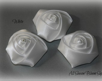 "Set of 3 Satin Rolled Rosettes, Rose Flowers, Satin Rose, Hair Accessories 1.8""-2"" Flowers, White Rosettes"