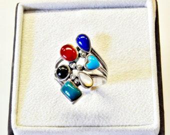 silver ring, stylish natural stones,charm ring