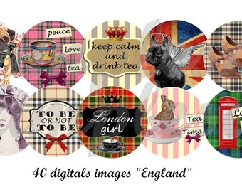Digital collage sheet England British London- One inch circle design for pendant, bottle cap, printable collage, instant download.