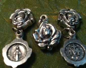 Blessed Mother Mary / Logo Catholic Rose Locket