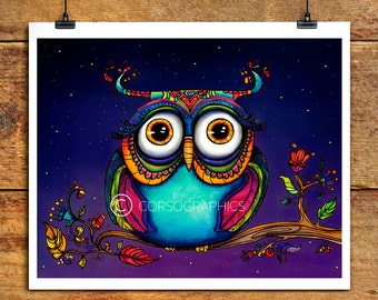 Watercolor Owl Painting owl watercolor owl artwork  kids room decor nursery decor love you - owl art owl in trees 11x14 art print gift idea