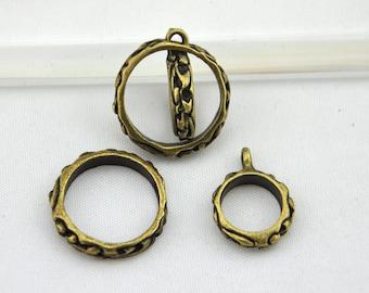 Ring central charm--10pcs Antique Bronze Restoring ancient ways ring central Charm jump ring fittings---Q0060