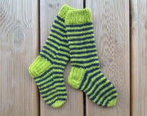 Knitted striped long socks for kids. Made from 100% Latvian sheep wool. Warm, cozy and natural.