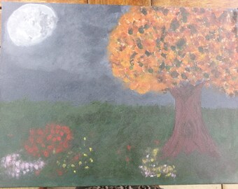 Acrylic Canvas Original painting Meadow by Night