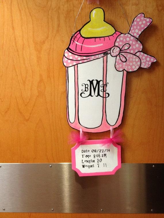 Items similar to girl hospital door hanger boy nursery for Baby boy hospital door decoration