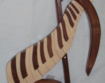 Wood Musical Note & Piano Keys Intarsia Clock