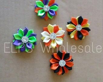 10 pc Halloween- Fall 1.5 Satin Flowers -10 piece- supplies- Fabric Flowers- Rosette- Hair bow Supplies