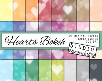 Hearts Bokeh Digital Paper Value Pack - 24 Colors - Commercial Use - 12in x 12in 300 dpi jpg - Instant Download Hearts Bokeh Background
