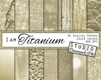 "Light Gold Digital Paper - ""I am Titanium"" - Gold Foil / Glitter / White Gold Commercial Use Light Gold Backgrounds - Instant Download"